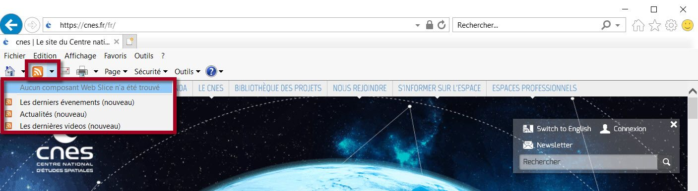 Détection native de fils RSS dans Internet Explorer